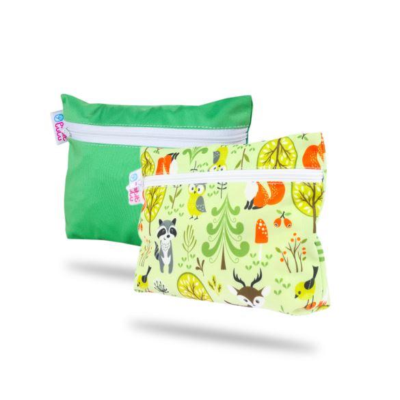 Malá taštička 2 ks (zelená, lesní zvířátka)
