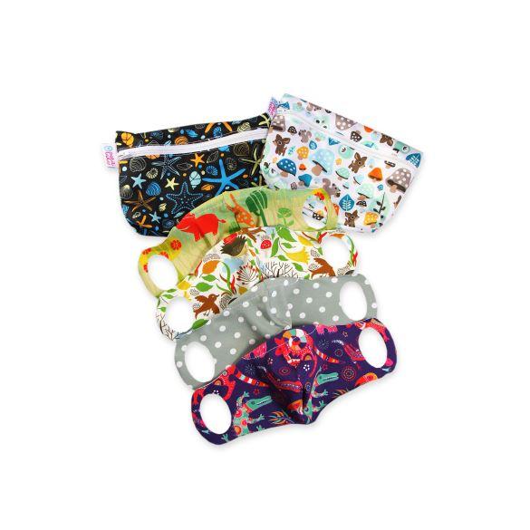 Praktická dětská sada pro školáky 4 roušky XS + 2 taštičky (poklady oceánu, houbičky)